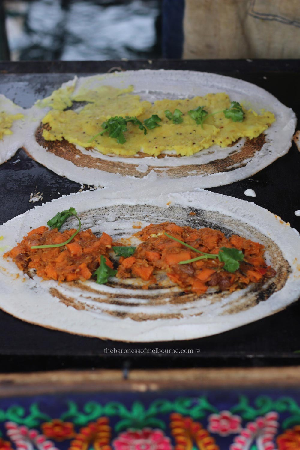 The traditional potato dosa (top) or the sweet potato dosa from Overdosa